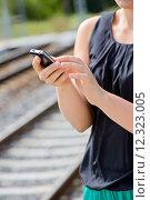 Купить «Closeup of woman hands using phone», фото № 12323005, снято 18 июня 2019 г. (c) PantherMedia / Фотобанк Лори