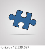 Купить «Closeup of jigsaw puzzle piece isolated on grey», иллюстрация № 12339697 (c) PantherMedia / Фотобанк Лори