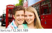 Купить «happy couple over london city street», фото № 12361189, снято 7 июля 2014 г. (c) Syda Productions / Фотобанк Лори