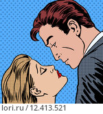 Купить «Love men and women kiss pop art comics retro style Halftone», фото № 12413521, снято 12 декабря 2018 г. (c) PantherMedia / Фотобанк Лори
