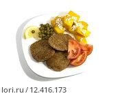 Купить «vegetarian food on a white plate, the top view a close up», фото № 12416173, снято 20 января 2020 г. (c) PantherMedia / Фотобанк Лори