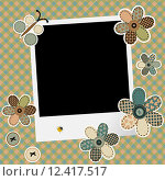 Купить «Vintage design background for scrapbook with photo frame», иллюстрация № 12417517 (c) PantherMedia / Фотобанк Лори