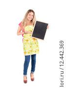 Купить «Beautiful woman with apron and menu bord», фото № 12442369, снято 19 января 2019 г. (c) PantherMedia / Фотобанк Лори