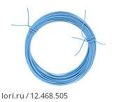 Купить «Steel wire covered with blue plastic», фото № 12468505, снято 18 февраля 2019 г. (c) PantherMedia / Фотобанк Лори