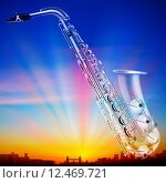 Купить «abstract sunrise background with city and saxophone», фото № 12469721, снято 21 июля 2019 г. (c) PantherMedia / Фотобанк Лори