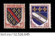 Купить «French Postage Stamps», фото № 12526645, снято 19 июля 2019 г. (c) PantherMedia / Фотобанк Лори