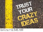 Купить «TRUST YOUR CRAZY IDEAS motivational quote.», фото № 12545189, снято 24 сентября 2018 г. (c) PantherMedia / Фотобанк Лори
