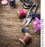 Купить «sewing tools», фото № 12552105, снято 18 февраля 2019 г. (c) PantherMedia / Фотобанк Лори