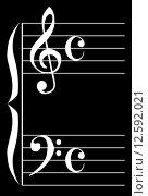 Купить «The bass and treble clef over a black background», иллюстрация № 12592021 (c) PantherMedia / Фотобанк Лори