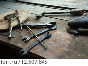 Купить «Старые инструменты в смазке на деревянной поверхности», фото № 12607845, снято 29 августа 2015 г. (c) Сосенушкин Дмитрий Александрович / Фотобанк Лори