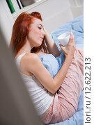Купить «woman home morning bed bedroom», фото № 12622213, снято 7 августа 2020 г. (c) PantherMedia / Фотобанк Лори