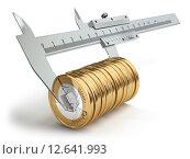 Купить «Small salary concept. Caliper measuring coins euro.», фото № 12641993, снято 21 мая 2018 г. (c) Maksym Yemelyanov / Фотобанк Лори