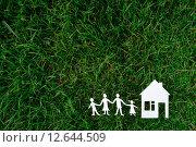 Купить «Бумажные фигурки семьи и дома на траве», фото № 12644509, снято 5 сентября 2015 г. (c) Захар Гончаров / Фотобанк Лори