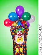 Купить «Funny clown isolated on the white», фото № 12646437, снято 2 апреля 2013 г. (c) Elnur / Фотобанк Лори
