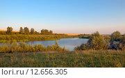 Купить «Летний пейзаж на закате в Тульской области», фото № 12656305, снято 8 августа 2015 г. (c) Валерий Боярский / Фотобанк Лори