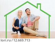 Купить «happy couple of man and woman to new home», фото № 12669713, снято 6 июня 2015 г. (c) Syda Productions / Фотобанк Лори