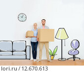 Купить «couple with cardboard boxes moving to new home», фото № 12670613, снято 6 июня 2015 г. (c) Syda Productions / Фотобанк Лори