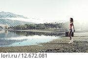 Купить «Hitch hiking traveling», фото № 12672081, снято 26 марта 2014 г. (c) Sergey Nivens / Фотобанк Лори