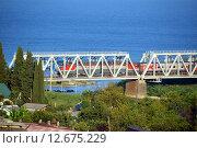 Купить «Поезд дальнего следования, проходящий по железнодорожному мосту через реку Шахе на фоне Черного моря», фото № 12675229, снято 17 августа 2015 г. (c) Александр Замараев / Фотобанк Лори