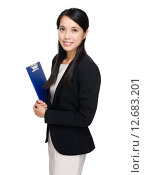 Купить «Businesswoman hold with clipboard», фото № 12683201, снято 18 июня 2019 г. (c) PantherMedia / Фотобанк Лори