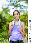 Купить «Asian woman with towel on shoulder after doing exercise», фото № 12683301, снято 18 июня 2019 г. (c) PantherMedia / Фотобанк Лори