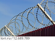 Купить «Забор из колючей проволоки», фото № 12689789, снято 14 сентября 2014 г. (c) Сергей Трофименко / Фотобанк Лори