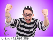 Funny convict isolated on the white. Стоковое фото, фотограф Elnur / Фотобанк Лори