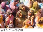Купить «Festival de los colores Holi in Barcelona», фото № 12692481, снято 12 апреля 2015 г. (c) Яков Филимонов / Фотобанк Лори