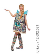 Купить «Woman in dress with oriental prints isolated on white», фото № 12692581, снято 20 апреля 2015 г. (c) Elnur / Фотобанк Лори