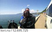 Купить «Подводный художник готовится к погружению на озере Байкал для того чтоб написать подводную картину», видеоролик № 12695725, снято 5 сентября 2014 г. (c) Некрасов Андрей / Фотобанк Лори