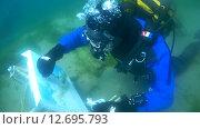 Купить «Подводный художник Юрий Адексеев рисует картину под водой в озере Байкал», видеоролик № 12695793, снято 5 сентября 2014 г. (c) Некрасов Андрей / Фотобанк Лори