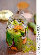 Купить «Маринованные огурцы, домашние заготовки», фото № 12697037, снято 12 сентября 2015 г. (c) Iordache Magdalena / Фотобанк Лори