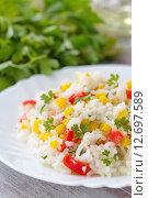 Рис с кукурузой и овощами. Стоковое фото, фотограф Ольга Гамзова / Фотобанк Лори