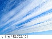 Купить «Красивое небо с перистыми облаками», фото № 12702101, снято 20 сентября 2019 г. (c) Зезелина Марина / Фотобанк Лори