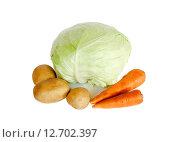 Купить «Свежие овощи: капуста, картофель и морковь, изолированные на белом фоне», фото № 12702397, снято 14 июля 2015 г. (c) Elena Molodavkina / Фотобанк Лори