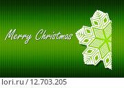 Зеленая рождественская открытка со снежинкой. Стоковая иллюстрация, иллюстратор Юлия Горбачева / Фотобанк Лори