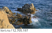 Купить «Коста Брава, побережье Льорет де Мар», видеоролик № 12705197, снято 17 сентября 2015 г. (c) Валерий Назаров / Фотобанк Лори