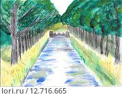 Мост через реку, рисунок. Стоковая иллюстрация, иллюстратор Сергей Немшилов / Фотобанк Лори