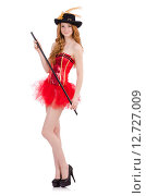Red hair girl in carnival costume isolated on white. Стоковое фото, фотограф Elnur / Фотобанк Лори