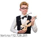 Купить «Funny violin player isolated on white», фото № 12728201, снято 27 января 2014 г. (c) Elnur / Фотобанк Лори