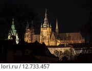 Собор святого Витта в Праге ночью (2015 год). Стоковое фото, фотограф Сластникова Татьяна / Фотобанк Лори