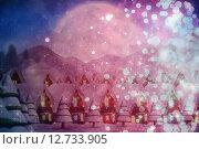 Composite image of quaint town with bright moon. Стоковое фото, агентство Wavebreak Media / Фотобанк Лори