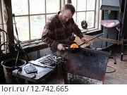 Купить «Transjö, Sweden, Lars Glasblaeser Skulberg at work», фото № 12742665, снято 17 апреля 2014 г. (c) Caro Photoagency / Фотобанк Лори