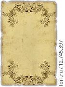 Лист старой бумаги с орнаментом в стиле рококо. Стоковая иллюстрация, иллюстратор Асия Абубакрова / Фотобанк Лори