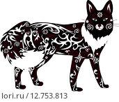 Черная лиса, иллюстрация на белом фоне. Стоковая иллюстрация, иллюстратор Буркина Светлана / Фотобанк Лори