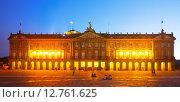 Rajoy Palace (Palacio de Rajoy) in night. Santiago de Compostela. Стоковое фото, фотограф Яков Филимонов / Фотобанк Лори
