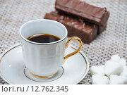 Купить «Coffee and chocolate waffles», фото № 12762345, снято 16 сентября 2015 г. (c) Алёшина Оксана / Фотобанк Лори
