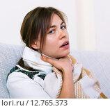 Купить «Young woman having heavy sickly tonsillitis», фото № 12765373, снято 23 марта 2019 г. (c) Яков Филимонов / Фотобанк Лори