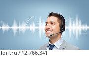 Купить «businessman in headset over sound wave or diagram», фото № 12766341, снято 29 января 2015 г. (c) Syda Productions / Фотобанк Лори