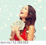Купить «woman in red dress with us dollar money», фото № 12769553, снято 22 сентября 2013 г. (c) Syda Productions / Фотобанк Лори